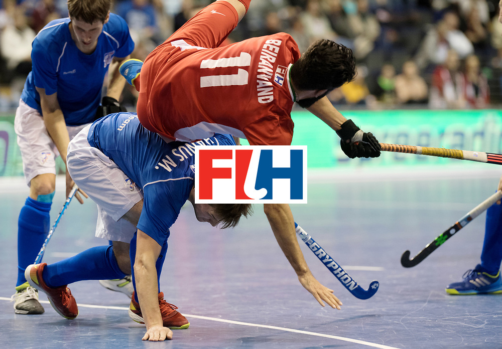 BERLIN - Indoor Hockey World Cup<br /> Quarterfinal 1: Iran - Czech Republic<br /> foto: BEIRANVAND Behdad and HANUS Martin (C).<br /> WORLDSPORTPICS COPYRIGHT FRANK UIJLENBROEK