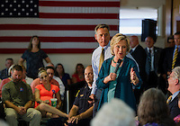 Vermont Governor Peter Shumlin and Democratic Presidential candidate Hillary Clinton speak to the crowd on substance abuse at the Laconia Boys and Girls Club of Laconia Thursday afternoon.  (Karen Bobotas/for the Laconia Daily Sun)
