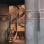 Wooden spiral staircase, northern transept, Nanterre Cathedral (Cathédrale Sainte-Geneviève-et-Saint-Maurice de Nanterre), 1924 - 1937, by architects Georges Pradelle and Yves-Marie Froidevaux, Nanterre, Hauts-de-Seine, France. Picture by Manuel Cohen