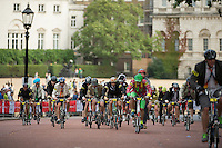 Riders competing in the 10th Brompton World Championship Final on The Mall. Prudential RideLondon is the world's greatest festival of cycling, involving 95,000+ cyclists – from Olympic champions to a free family fun ride - riding in five events over closed roads in London and Surrey over the weekend of 1st and 2nd August 2015. <br /> <br /> Photo: Thomas Lovelock for Prudential RideLondon<br /> <br /> See www.PrudentialRideLondon.co.uk for more.<br /> <br /> For further information: Penny Dain 07799 170433<br /> pennyd@ridelondon.co.uk