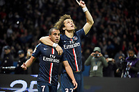 Brazilian midfielder Lucas of Paris Saint Germain celebrates scoring the 1st goal for his team with Brazilian defender David Luiz of Paris Saint Germain during the French Championship Ligue 1 football match between Paris Saint Germain and Olympique de Marseille on November 9, 2014 at Parc des Princes stadium in Paris, France. Photo Jean Marie Hervio / Regamedia / DPPI