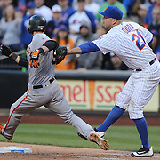 NEW YORK, NEW YORK - APRIL 30:  Lucas Duda #21 of the New York Mets makes the final out of the game as he tags out Matt Duffy #5 of the San Francisco Giants at first base during the New York Mets Vs San Francisco Giants MLB regular season game at Citi Field on April 30, 2016 in New York City. (Photo by Tim Clayton/Corbis via Getty Images)