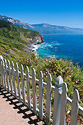 Picket fence above the Big Sur Coast, Lucia, California USA