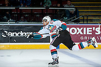 KELOWNA, CANADA -FEBRUARY 10: Madison Bowey #4 of the Kelowna Rockets takes a slap shot against the Seattle Thunderbirds on February 10, 2014 at Prospera Place in Kelowna, British Columbia, Canada.   (Photo by Marissa Baecker/Getty Images)  *** Local Caption *** Madison Bowey;