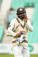 Kumar Sangakkara of Surrey County Cricket Club after being dismissed LBW by Jesse Ryder of Essex County Cricket Club during the LV County Championship Div Two match at the Kia Oval, London<br /> Picture by Mark Chappell/Focus Images Ltd +44 77927 63340<br /> 26/04/2015