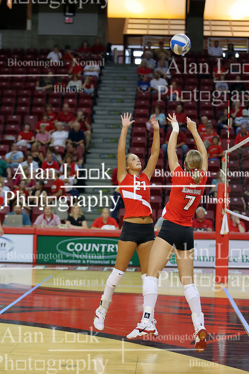 18 AUG 2007: Katie Seyller and M.C. Richmond go after the same ball. The Illinois State Redbirds, picked for 5th in the pre-season Missouri Valley Conference coaches poll, prepare for the beginning of the season during the annual Red/White inter-squad scrimmage at Redbird Arena in Normal Illinois.
