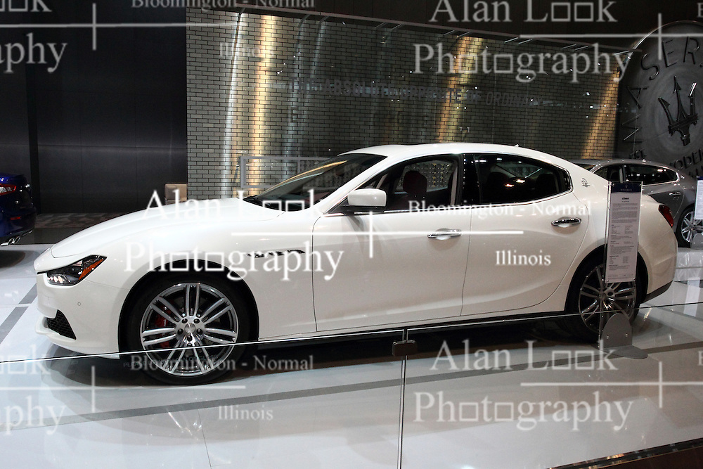 12 February 2015:  Maserati Ghlibi<br /> <br /> First staged in 1901, the Chicago Auto Show is the largest auto show in North America and has been held more times than any other auto exposition on the continent. The 2015 show marks the 107th edition of the Chicago Auto Show. It has been  presented by the Chicago Automobile Trade Association (CATA) since 1935.  It is held at McCormick Place, Chicago Illinois