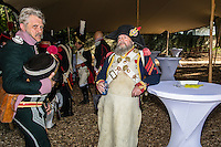 Belgium, Vieux-Genappe near Waterloo on 4th of June 2015. Official reopening of this former  farm, now a museum  where Emperor Napoleon and his staff spent the night of 17th June 1815. The last night before the battle of Waterloo.re-enactors taking a break