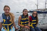 Galapagos December 2016 Group<br /> Punta Vicente Roca, Isabela Island<br /> Galapagos<br /> Ecuador, South America<br /> Cili, Orla & Tullia Corbisiero