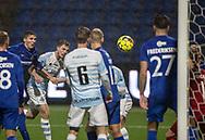 Nicolas Mortensen (FC Helsingør) header i mål til 2-0 under kampen i 2. Division mellem FC Helsingør og Skovshoved IF den 11. oktober 2019 på Helsingør Ny Stadion (Foto: Claus Birch).