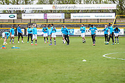 Forest Green players warming up during the Vanarama National League match between Southport and Forest Green Rovers at the Merseyrail Community Stadium, Southport, United Kingdom on 17 April 2017. Photo by Shane Healey.