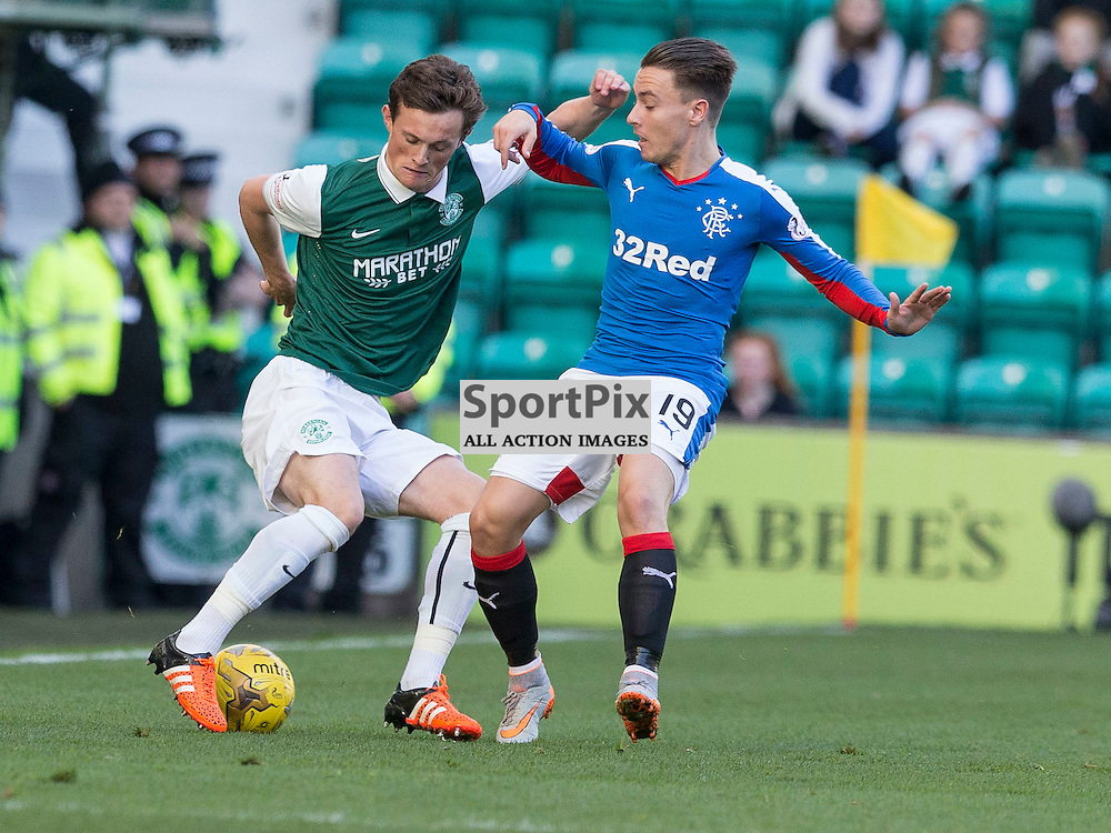 Hibernian FC v Rangers FC <br /> <br /> Liam Henderson (Hibernian) and Barrie McKay (Rangers) during the SPFL Championship match between Hibernian FC and Rangers FC at Easter Road Stadium on Sunday 1 November 2015.<br /> <br /> Picture Alan Rennie.