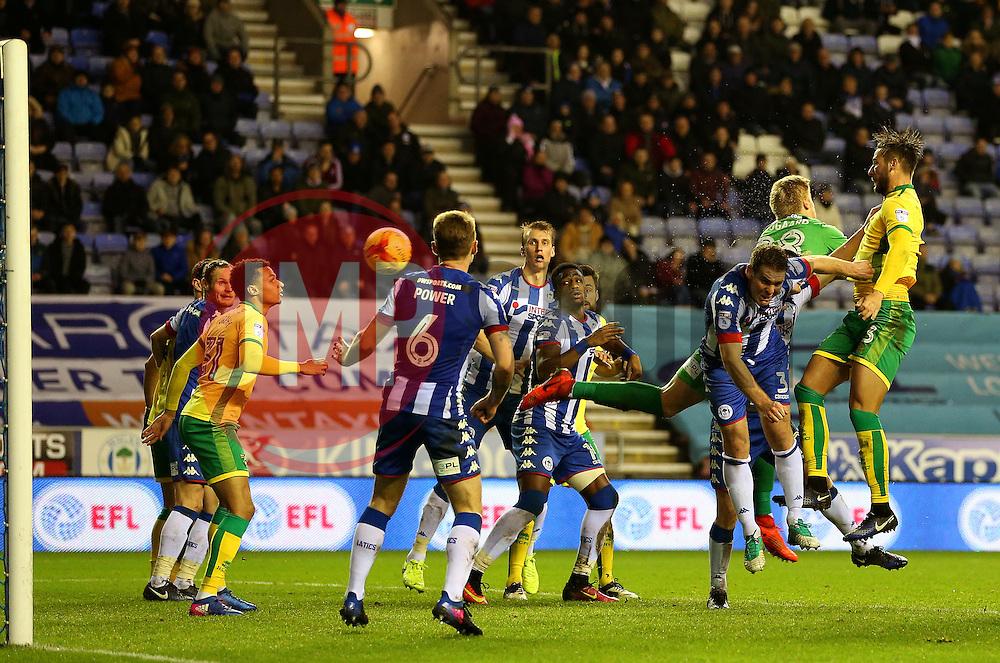 Mitchell Dijks of Norwich City scores the equalising goal to make it 2-2 - Mandatory by-line: Matt McNulty/JMP - 07/02/2017 - FOOTBALL - DW Stadium - Wigan, England - Wigan Athletic v Norwich City - Sky Bet Championship