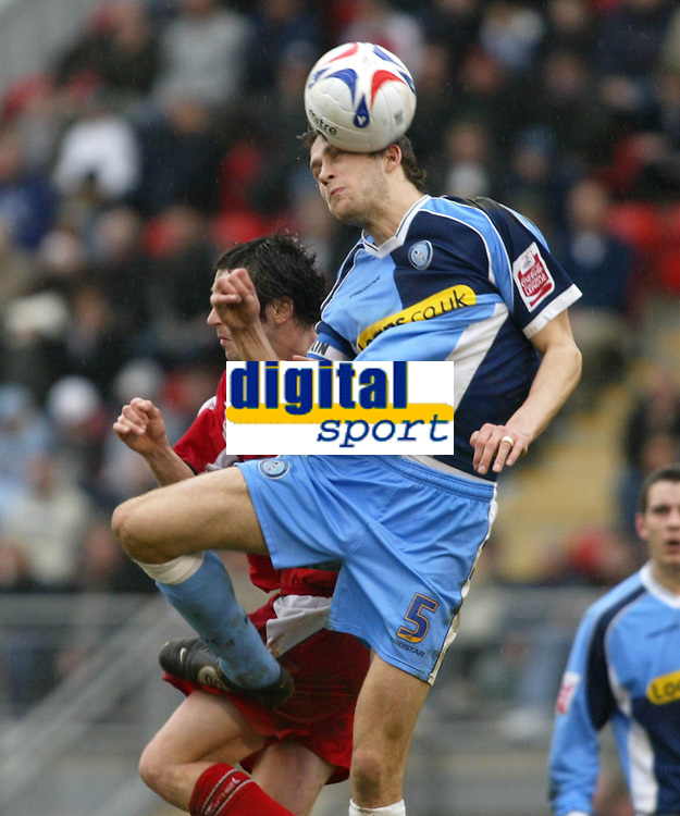 Photo: Chris Ratcliffe.<br />Leyton Orient v Wycombe Wanderers. Coca Cola League 2. 25/03/2006.<br />Roger Johnson of Wycombe goes up for a header