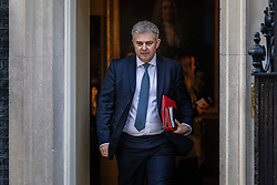 © Licensed to London News Pictures. 02/04/2019. London, UK. Minister without Portfolio and Conservative Party Chair Brandon Lewis leaves 10 Downing Street after Prime Minister Theresa May delivered a statement announcing that she will seek a further extension of Article 50. Photo credit: Rob Pinney/LNP