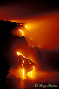 lava falls off Lae'apuki Bench into the ocean from continuing eruption from Pu'u O'o, Kilauea Volcano Hawaii<br /> Hawaii Volcanoes National Park, Jan 2000 <br /> Big Island of Hawaii