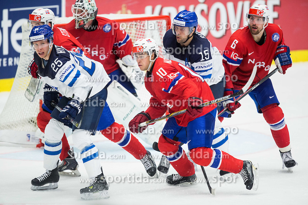 Andreas Stene of Norway, Juha-Pekka Hytonen of Finland, Lars Volden of Norway, Mattias Norstebo of Norway, Tuomo Ruutu of Finland and Jonas Holos of Norway during Ice Hockey match between Norway and Finland at Day 4 in Group B of 2015 IIHF World Championship, on May 4, 2015 in CEZ Arena, Ostrava, Czech Republic. Photo by Vid Ponikvar / Sportida