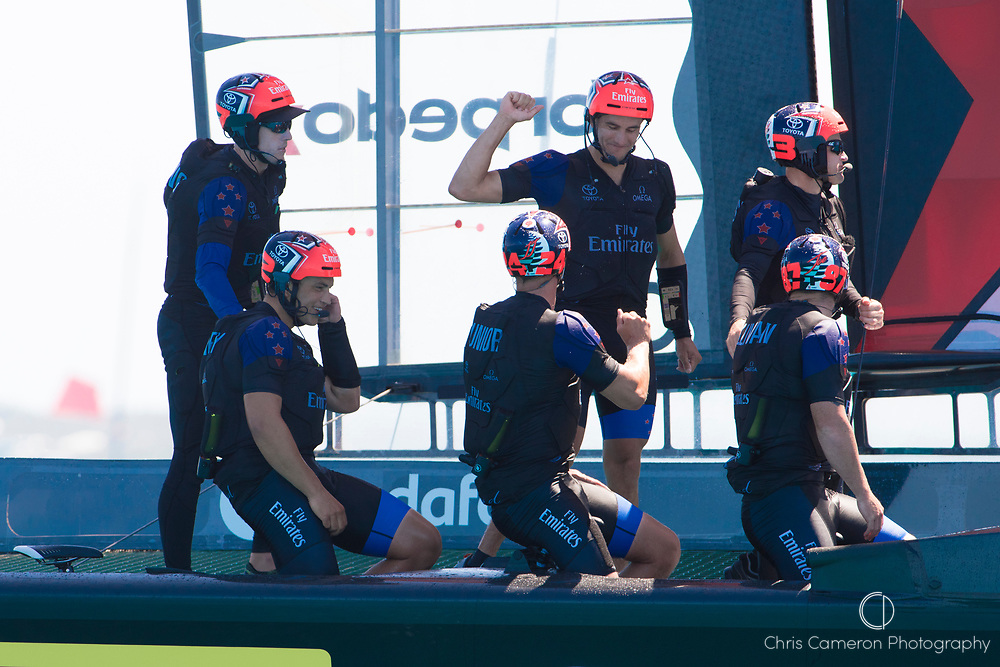 The Great Sound, Bermuda, 18th June. Emirates Team New Zealand crew after their win against Oracle Team USA in race four on day two of the America's Cup.