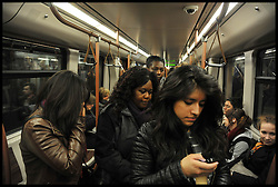 People on the Metro in Brussels, Belgium, April 11, 2013, Picture by Andrew Parsons / i-Images