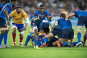 London, Great Britain, Flanker, Yannick NYANGA playing the scrum half role, during a Pool D game,     France vs Romania. 2015 Rugby World Cup. Venue. The Stadium Queen Elizabeth Olympic Park. Stratford. East London. England,, Wednesday  23/09/2015. <br /> [Mandatory Credit; Peter Spurrier/Intersport-images]