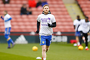 Leeds United midfielder Eunan O'Kane (14) warming up  during the EFL Sky Bet Championship match between Sheffield Utd and Leeds United at Bramall Lane, Sheffield, England on 10 February 2018. Picture by Simon Davies.