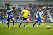Brighton & Hove Albion centre forward Tomer Hemed (10) and Brighton & Hove Albion central midfielder Steve Sidwell (14) track Burton Albion midfielder Jackson Irvine (36) during the EFL Sky Bet Championship match between Brighton and Hove Albion and Burton Albion at the American Express Community Stadium, Brighton and Hove, England on 11 February 2017. Photo by Richard Holmes.