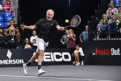 October 4, 2018 - St. Louis, Missouri, U.S - JOHN MCENROE with the forehand return during the Invest Series True Champions Classic on Thursday, October 4, 2018, held at The Chaifetz Arena in St. Louis, MO (Photo credit Richard Ulreich / ZUMA Press) (Credit Image: © Richard Ulreich/ZUMA Wire)