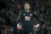 Artur Boruc (AFC Bournemouth) turns to look at the net having conceded a goal, scored by Philippe Coutinho (Liverpool) to make it 1-1 during the Premier League match between Liverpool and Bournemouth at Anfield, Liverpool, England on 5 April 2017. Photo by Mark P Doherty.