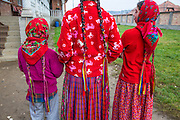 Girls, long braids, Gypsy, traditional dress, Romania