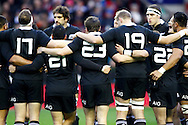 Picture by Andrew Tobin/SLIK images +44 7710 761829. 2nd December 2012. The All Blacks in a huddle before the QBE Internationals match between England and the New Zealand All Blacks at Twickenham Stadium, London, England. England won the game 38-21.