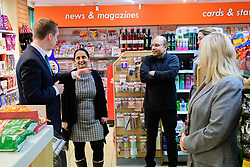 Pictured is Tom Pursglove MP, left, talking to Devyani and Biren Tailor<br /> <br /> Tom Pursglove MP has officially opened the new Post Office at the Weldon Supermarket in Weldon.<br /> <br /> Date: November 10, 2017