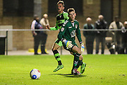 Forest Green Rovers Elliott Frear(11) shoots at goal scores a goal 0-2 during the Friendly match between Weston Super Mare and Forest Green Rovers at the Woodspring Stadium, Weston Super Mare, United Kingdom on 11 October 2016. Photo by Shane Healey.