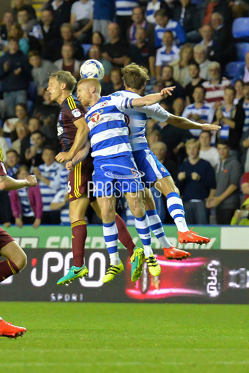 Reading FC defender (5) Paul McShane wins the header during the EFL Sky Bet Championship match between Reading and Ipswich Town at the Madejski Stadium, Reading, England on 9 September 2016. Photo by Mark Davies.