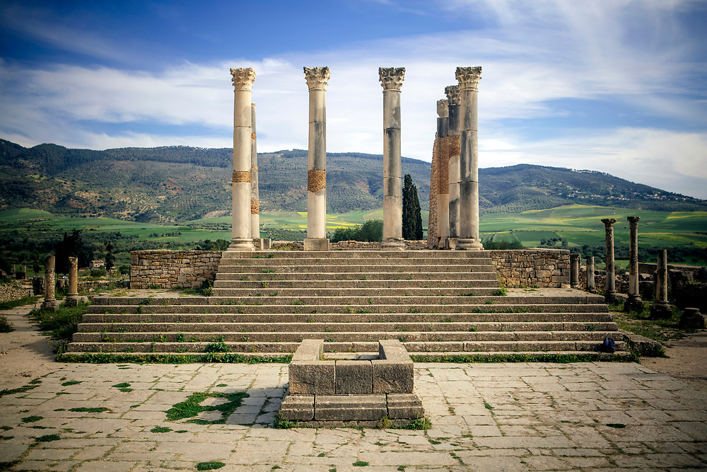 Volubilis Roman ruins, inbetween Meknes and Moulay Idriss, Middle Atlas, Morocco, 2016-04-28.<br />
