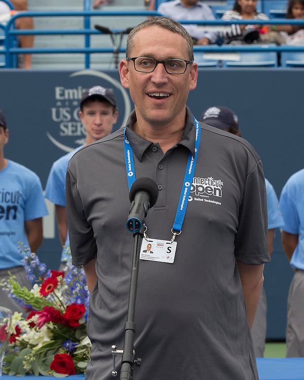 August 23, 2014, New Haven, CT:<br /> Ben Barnes of the State of Connecticut speaks during a ceremony following the Singles Final on day nine of the 2014 Connecticut Open at the Yale University Tennis Center in New Haven, Connecticut Saturday, August 23, 2014.<br /> (Photo by Billie Weiss/Connecticut Open)