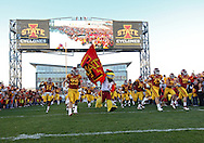 October 01, 2011: Iowa State takes the field before the start of the game between the Iowa State Cyclones and the Texas Longhorns at Jack Trice Stadium in Ames, Iowa on Saturday, October 1, 2011. Texas defeated Iowa State 37-14.