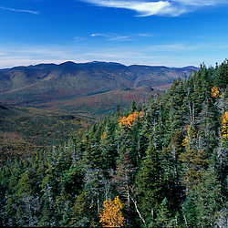 White Mountain N.F., NH. The view from near the western shoulder of Mount Carrigain.  Pemigewasset Wilderness Area.  Aerial.  Early Fall.