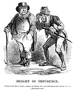 "Height of Impudence. Irishman to John Bull. - ""Spare  a thrifle, yer honour, for a poor Irish lad to buy a bit of  - a blunderbuss with."""