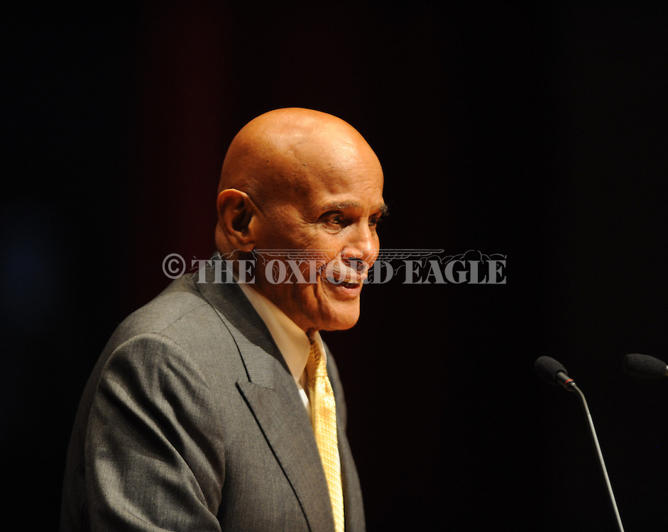 Harry Belafonte gives the keynote address as the University of Mississippi marks the 50th anniversary of its integration at the Ford Center on Monday, October 1, 2012, in Oxford, Miss. James Meredith integrated the university on Oct. 1, 1962.