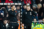 AFC Bournemouth manager Eddie Howe feeling the pressure during the Premier League match between Bournemouth and Watford at the Vitality Stadium, Bournemouth, England on 12 January 2020.