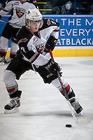 KELOWNA, CANADA - MARCH 15: Ty Ronning #7 of the Vancouver Giants warms up against the Kelowna Rockets on March 15, 2014 at Prospera Place in Kelowna, British Columbia, Canada.  Ronning is the son of former NHLer Cliff Ronning.  (Photo by Marissa Baecker/Getty Images)  *** Local Caption *** Ty Ronning;
