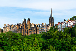 Skyline view across Princes Street Gardens of buildings in Old Town of Edinburgh , Scotland, UK