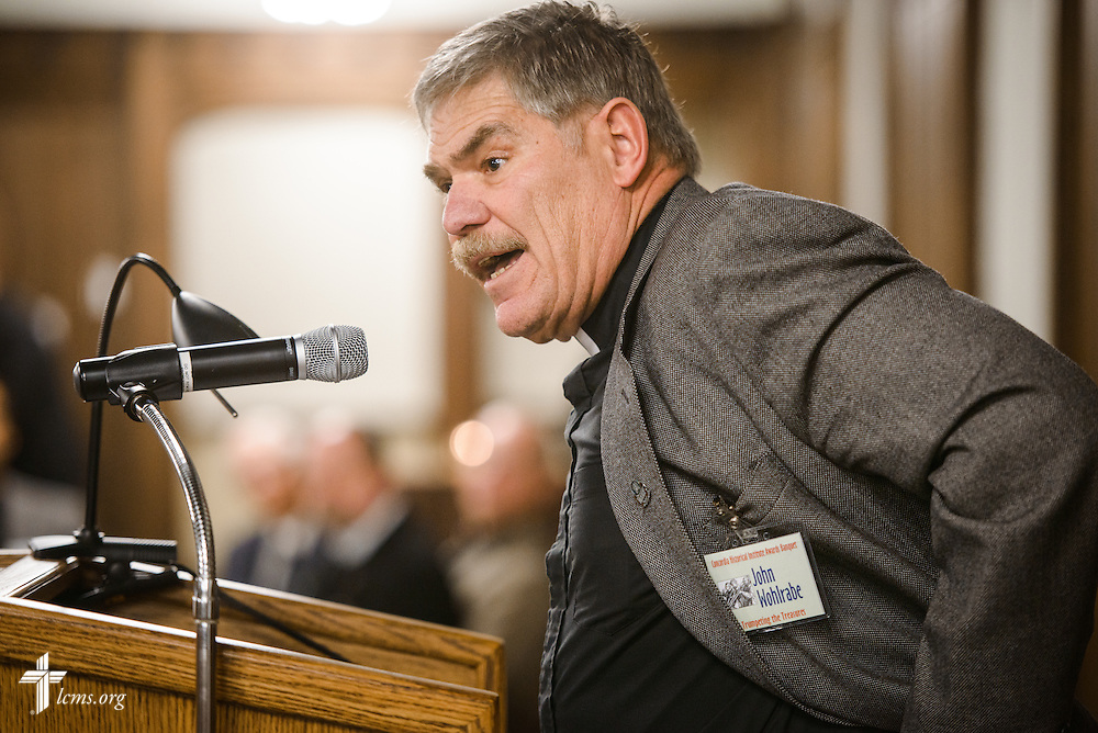 "The Rev. Dr. John Wohlrabe Jr., LCMS fourth vice-president and president of the CHI Board of Governors, speaks during the ""Trumpeting the Treasures"" Concordia Historical Institute 42nd annual awards banquet on Thursday, Nov. 10, 2016, at Concordia Seminary, St. Louis. LCMS Communications/Erik M. Lunsford"