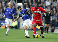 Photo: Paul Thomas.<br /> Everton v Middlesbrough. The Barclays Premiership.<br /> 06/11/2005.<br /> <br /> Everton's Mikel Arteta tries to tackle Yakubu.