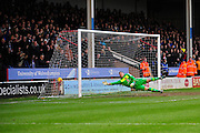 Neil Etheridge of Walsall FC can't keep out Yanic Wildschut of Wigan Athletic's winner during the Sky Bet League 1 match between Walsall and Wigan Athletic at the Banks's Stadium, Walsall, England on 20 February 2016. Photo by Mike Sheridan.