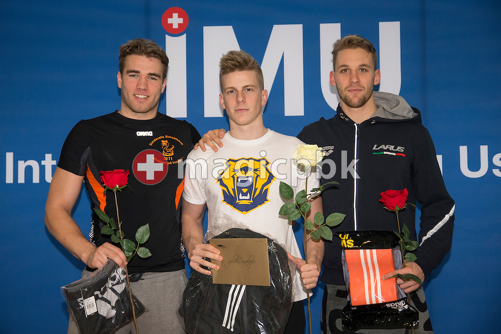 (L-R) Second placed Johannes Skagius of Sweden, winner Nikola Obrovac of Croatia and third placed Lorenzo Antonelli of Italy pose for a photo during the award ceremony for the men's 50m Breaststroke Final during the International Long Course Swim Meet Uster 2017 held at the Hallenbad Buchholz in Uster, Switzerland, Sunday, Feb. 5, 2017. (Photo by Patrick B. Kraemer / MAGICPBK)