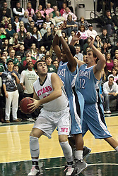08 February 2014:  Mike Marietti, Pat Coleman & Kenny Payonk during an NCAA mens division 3 CCIW basketball game between the Elmhurst Bluejays and the Illinois Wesleyan Titans in Shirk Center, Bloomington IL