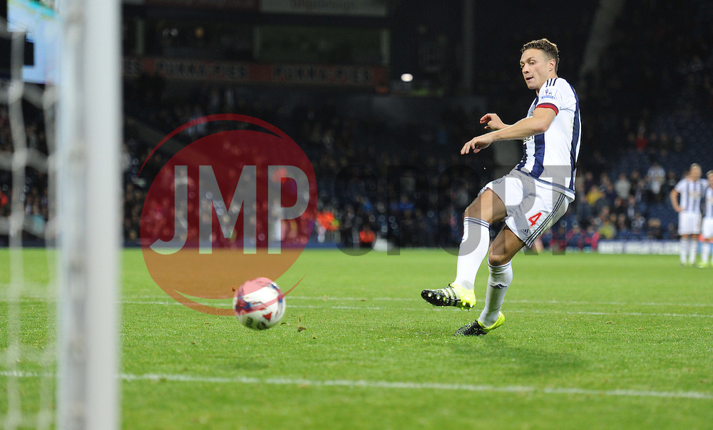 West Bromwich Albion's James Chester sores the winning penalty. - Mandatory byline: Alex James/JMP - 07966386802 - 25/08/2015 - FOOTBALL - The Hawthorns -Birmingham,England - West Brom v Port Vale - Capital One Cup