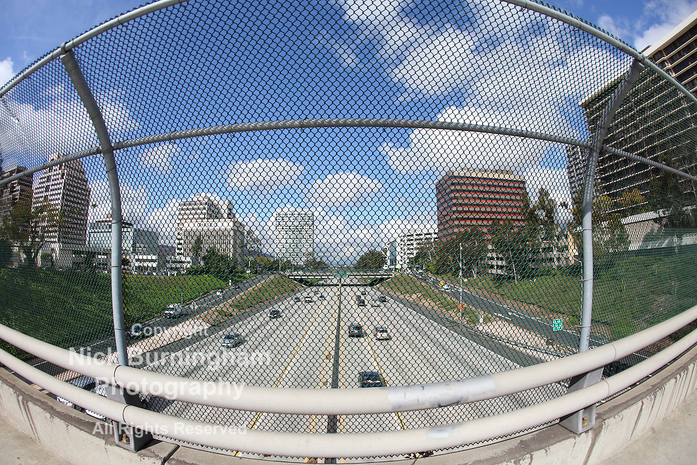 Fisheye view of Glendale, CA and the 134 Freeway from an overpass
