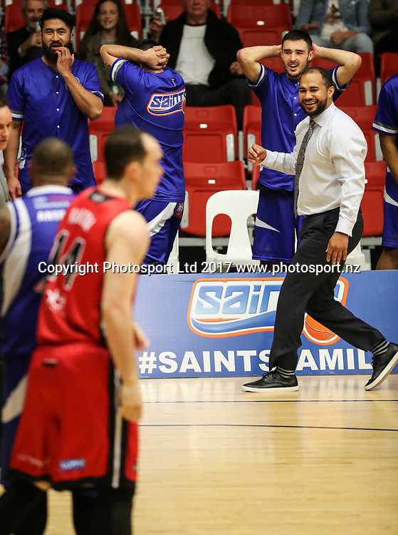 Saints bench react to a call. Wellington Saints v Canterbury Rams, NBL basketball Final Four Semi Finals, ASB Arena, Tauranga, New Zealand. Friday, 16 June 2017. Copyright photo: John Cowpland / www.photosport.nz